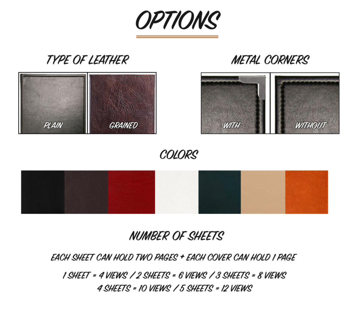 Color Options in Leather Menu Covers